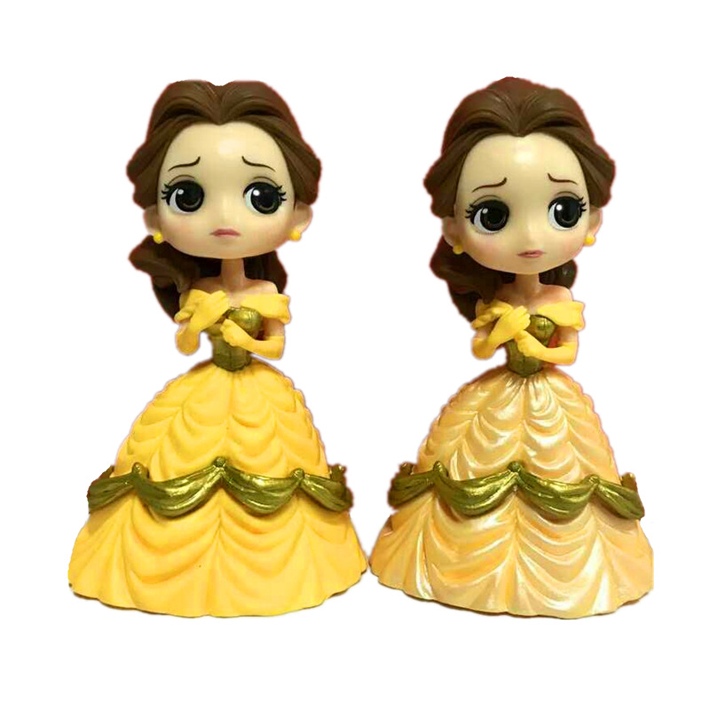 8pcs/lot 14cm Q posket Beauty and the Beast Belle Little Mermaid PVC Figure Model Toy Princess Doll Gift for Girls