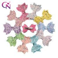 20 Pieces/lot 3 Hair Accessories Kids Hair Clips Mini Hairpins Bling Rainbow Glitter Hair Bows for Girls Princess Hair Barrette