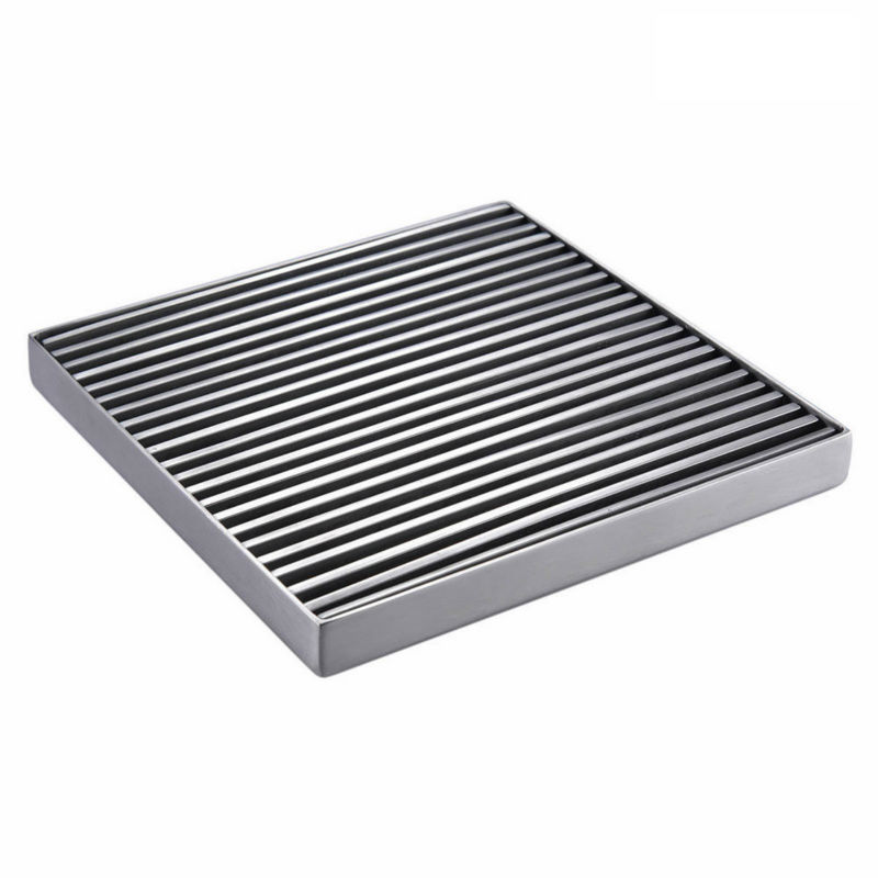 AODEYI 304 Stainless Steel Shower Floor Drain Strainer, Square 6 Inch Drain Grate Cover 11-040