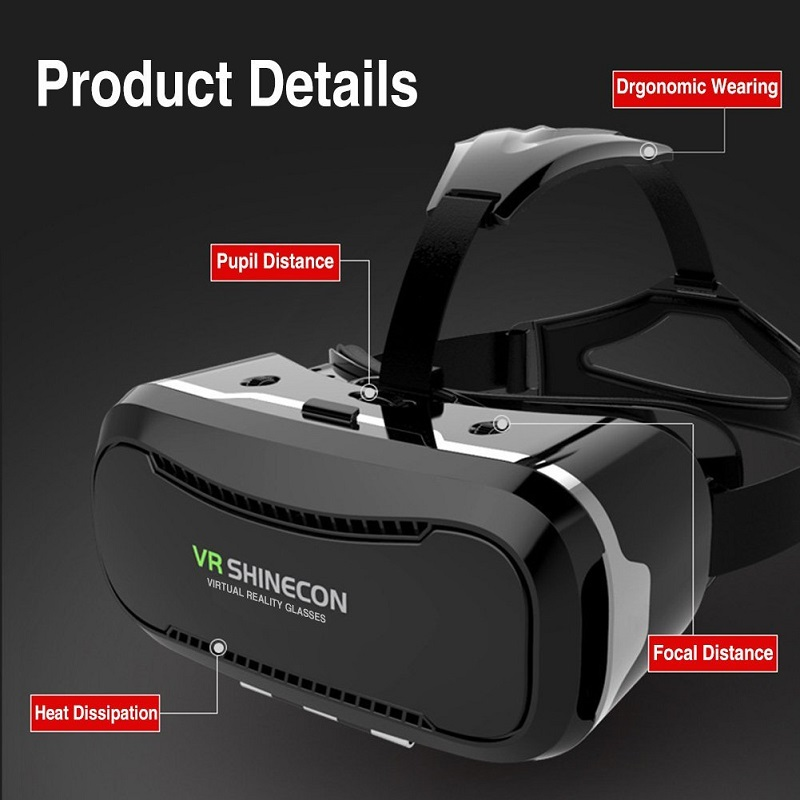 high quality VR Shinecon Glasses II Version VR Box Virtual Reality 3D Glasses with Original Bluetooth Gamepad for 4.3-6.0″ Phone