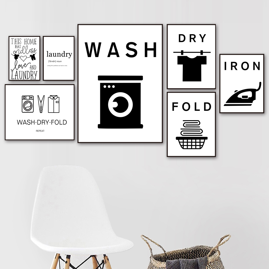 Wash Dry Fold Iron Laundry Sign Black White Wall Art Canvas Painting Nordic Posters And Prints Wall Pictures For Bathroom Decor(China)