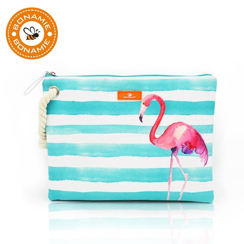 BONAMIE Bikini húmedo de las mujeres bolsa de embrague diseñador de la marca raya de la señora bolso de Flamingo cáñamo cuerdas de playa bolsas Bolsa Feminina