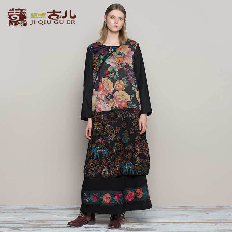 Jiqiuguer Women Print Patchwork O neck Pullover 100 Linen Winter Loose Dresses Black Floral Embroidery Plus