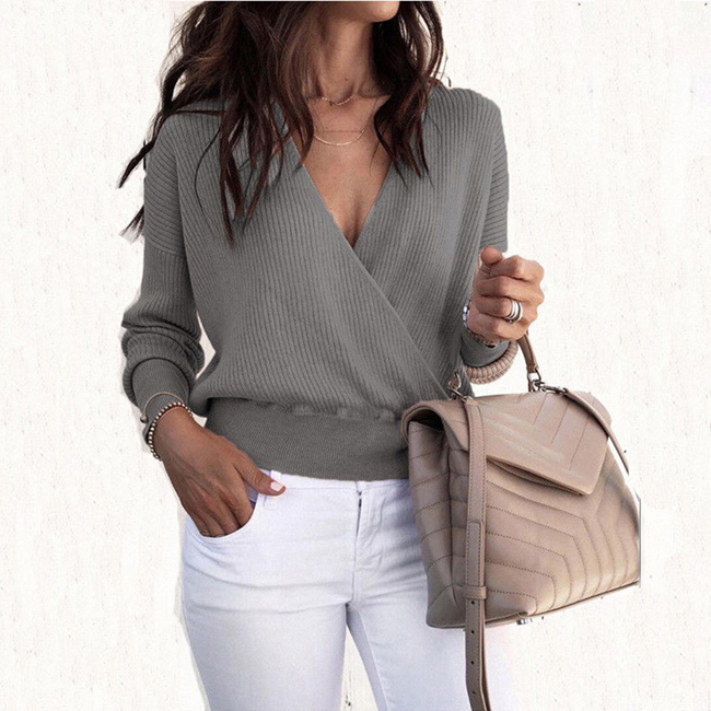 2019 Autumn Tops And Pullovers Long Sleeve Knitted Sweaters For Women V Neck Cross Wrap Sweaters And Pullovers Fashion Tops
