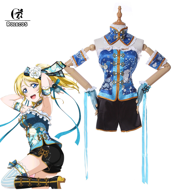ROLECOS Love Live Cosplay Costume Ayase Eli Anime Cosplay Costume Chinese Style Sets Sweet Lolita Clothes Sets Full Set
