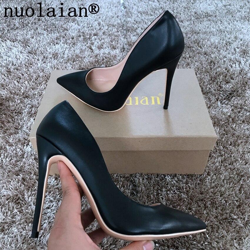 Noir chaussures à talons hauts femme chaussures de mariage femmes bout pointu talons hauts en cuir verni pompes femmes pompe dame chaussures 8 10 12 CM