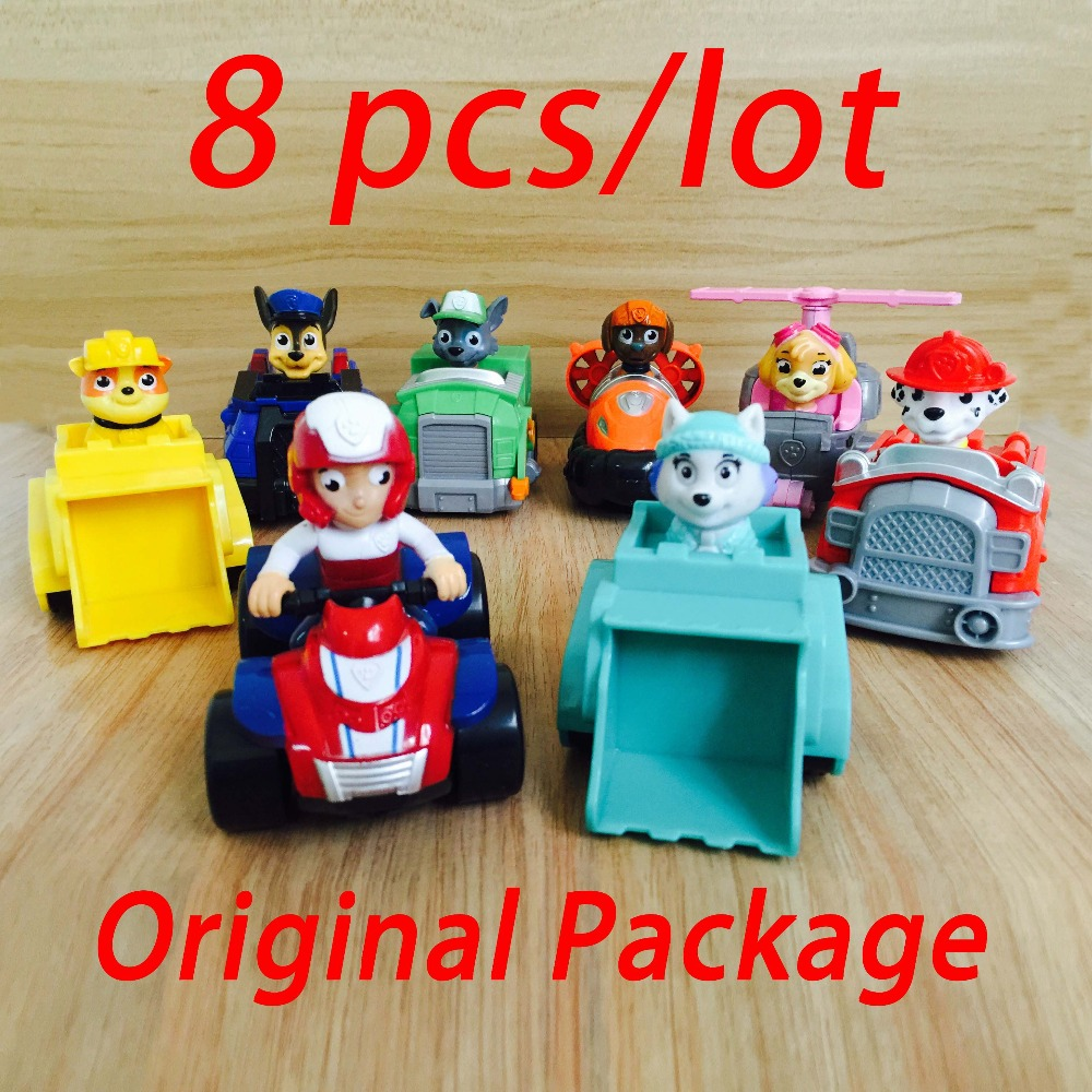 8pcs/set Russian Kid toys Patrol Dog Patrulla Canina Toys Everest,Ryder,Skye,Chase Vehicle Car Spain Patrol Canine