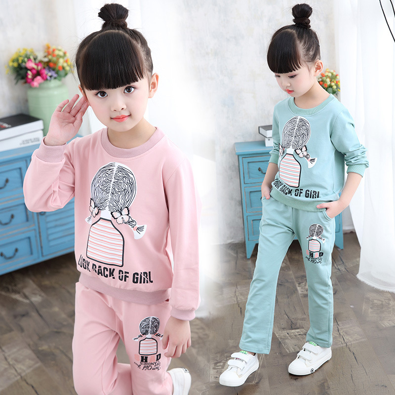 2018 Autumn Girls Clothing Set Long Sleeve Sports Suit For Kids Clothes Sets Cotton Tracksuit for Girls Clothes New Costume new 2018 spring girls clothing sets kids graffiti sweatshirt sports tracksuit suit set for children teenagers girls clothes 54