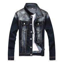 TIGER KNIFE 2017 Spring Newest Vintage Washed Stripe Denim Jacket Men Turn-down Collar Plus Size 3XL Jeans Jacket Male