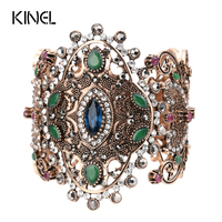 2017 Unique Charm Retro Cuff Bracelet For Women Gold Color Turkish Style Can Adjust Size Big