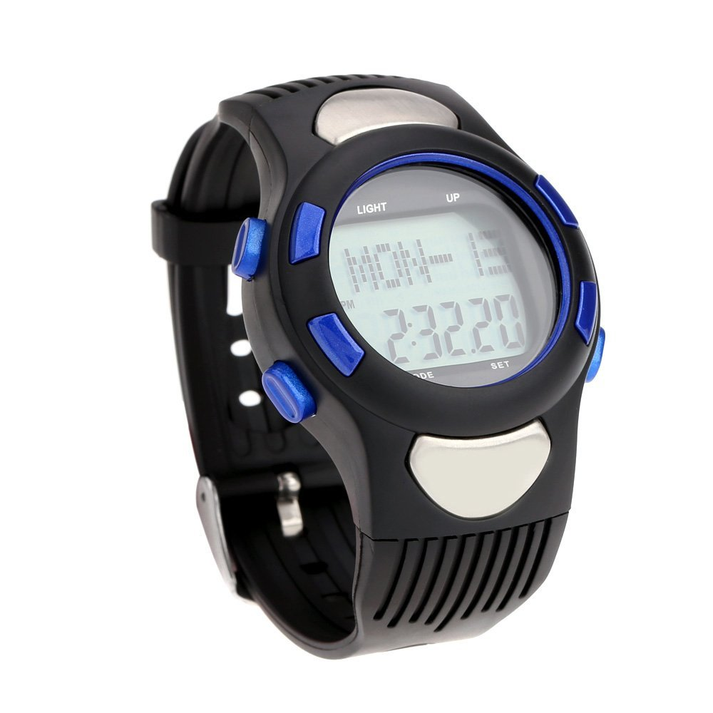 3 ATM Heart Rate Monitor Pulse Watches Waterproof Sport Pulse Monitor Fitness Exercise Watch Stopwatch Pedometer calorie Outdoo