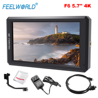 Feelworld F6 5.7 Inch On Camera Field Monitor 4K HDMI Input Full HD 1920x1080 IPS LED Panel for Camera Video with Power Adapter