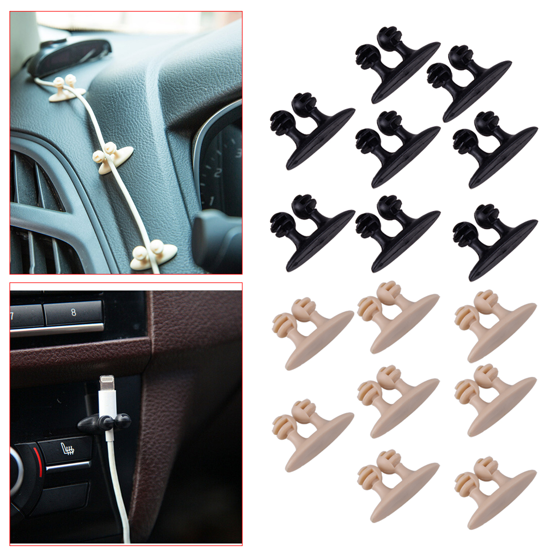 CITALL New Black Beige 8pcs PVC Car Wire Cord Clip Vehicle USB Charger line Cable Holder Organizer Clamp Plastic for Headphone