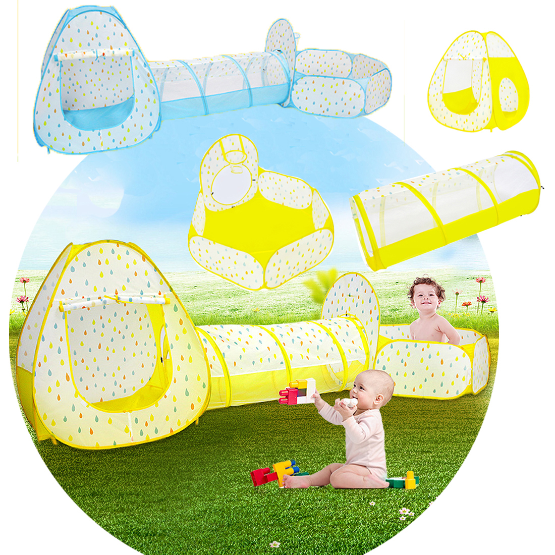 3 in 1 Kids Raindrop Toy Tent With Ball Pool Crawling Tunnel Teepee Children Folding Play Tent Baby Breathable Game House