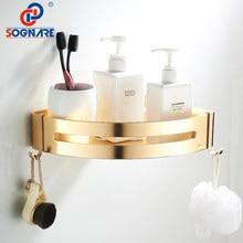 SOGNARE Pared de aluminio espacio estante negro oro ducha Caddy estante  sola grada ducha almacenamiento estantes accesorios de b. ec4f2bb21212