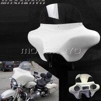 ABS пластик белый съемный летучая мышь обтекатель передняя фара обтекатель w/кронштейн на лобовое стекло для Harley Touring Road King 94 13