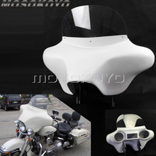 ABS Plastic White Detachable Batwing Fairing Front Headlight w/ Windshield Bracket for Harley Touring Road King 94-13