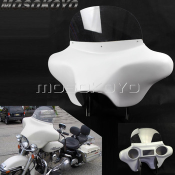 ABS Plastic White Detachable Batwing Fairing Front Headlight Fairing w/ Windshield Bracket for Harley Touring Road King 94-13
