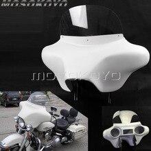 ABS プラスチックホワイト着脱式バットウィングフェアリングフロントヘッドライトフェアリング w/フロントガラスブラケットハーレーツーリング道路王 94  13
