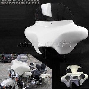 Image 1 - Carénage pour phare avant en plastique ABS blanc détachable avec support de pare brise, pour Harley Touring Road King 94 13