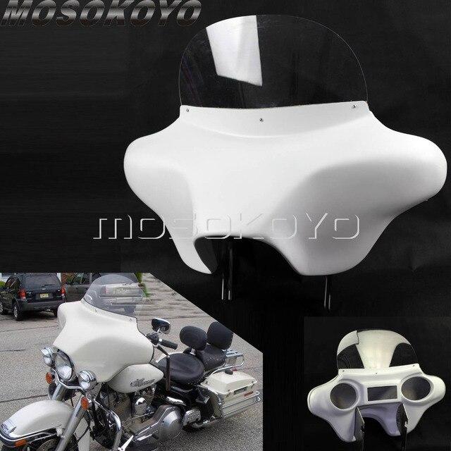 Carénage pour phare avant en plastique ABS blanc détachable avec support de pare brise, pour Harley Touring Road King 94 13