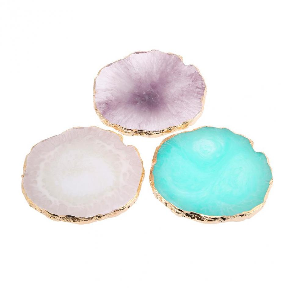 Resin Stone Nail Art Polish Palette Paint Drawing Color Dish Nail DIY Make Up Palette Tools Manicure Pedicure Display Board