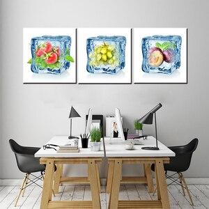 Высокое качество, 3 шт., фрукты в ледяном Кубе, холст, напечатанный на холсте, для декора столовой, ремесло, украшение для дома, кафе, бар