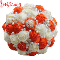 Exclusive brooch bridal wedding bouquet artificial flower diamond pearl beaded orange cream flower bouquet de mariage.jpg 200x200