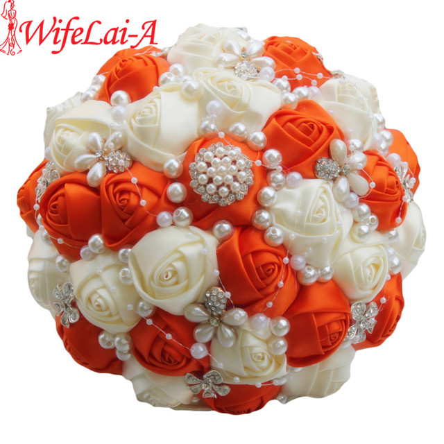 Exclusive Brooch Bridal Wedding Bouquet Artificial Flower Diamond Pearl Beaded Orange Cream De Mariage