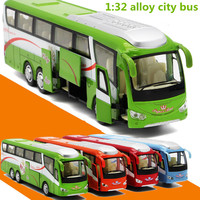 1 32 Alloy Car Models High Simulation City Bus Metal Diecasts Toy Vehicles Pull Back Flashing