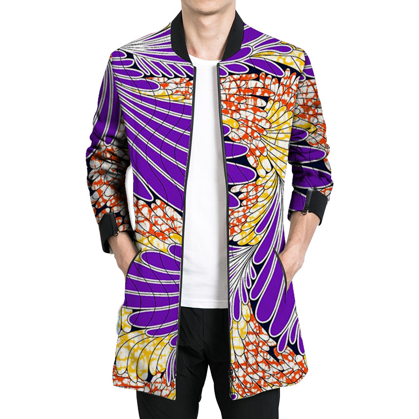 African print a long jacket mens stand collar outwear dashiki clothes male unique design style coats of africa clothing