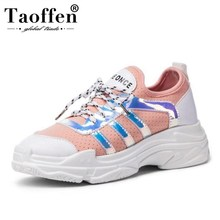 Купить с кэшбэком TAOFFEN Plus Size 29-46 Ladies Glitter Flats Shoes Women Sneakers Cross Strap Casual Women Shoes Daily Office Lady Footwear