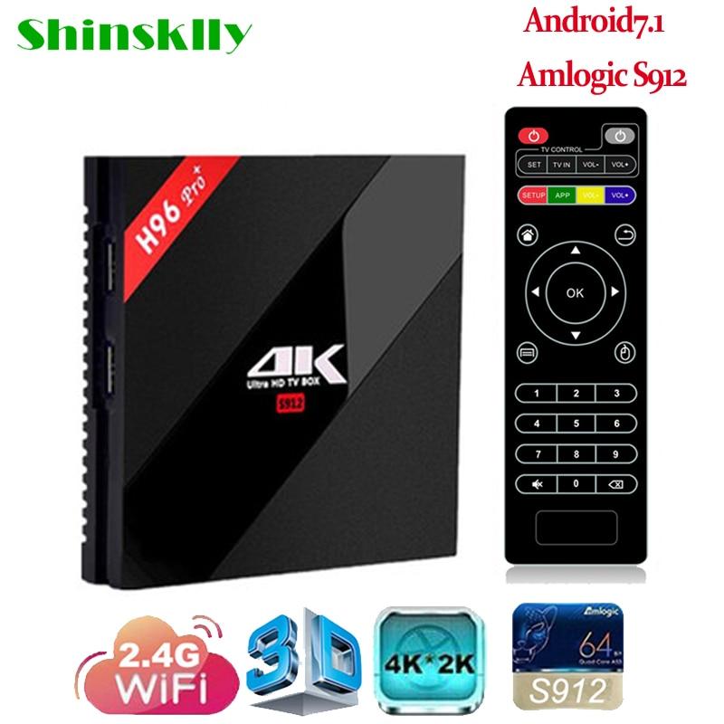Shinsklly Android 7.1 4K TV Box 3GB/32GB H96 Pro+ Amlogic S912 Octa Core 2.4G/5G Wifi Smart tv box HD Media Player Set Top Box h96 pro plus tv box smart android 7 1 s912 bt4 1 octa core 4k 3gb 32gb 1000lan 2 4g 5 0g wifi media player pk x92 tx9 pro