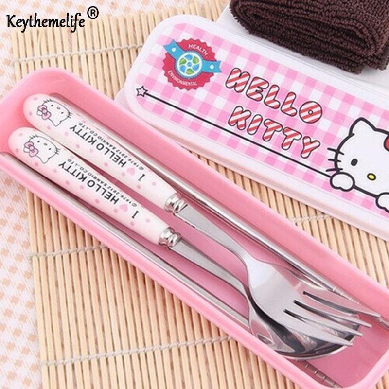 Keythemelife Dinnerware Tableware Lunch Set Cute Kawaii Hello Kitty Porcelain Baby's Kindergarten With retail BOX