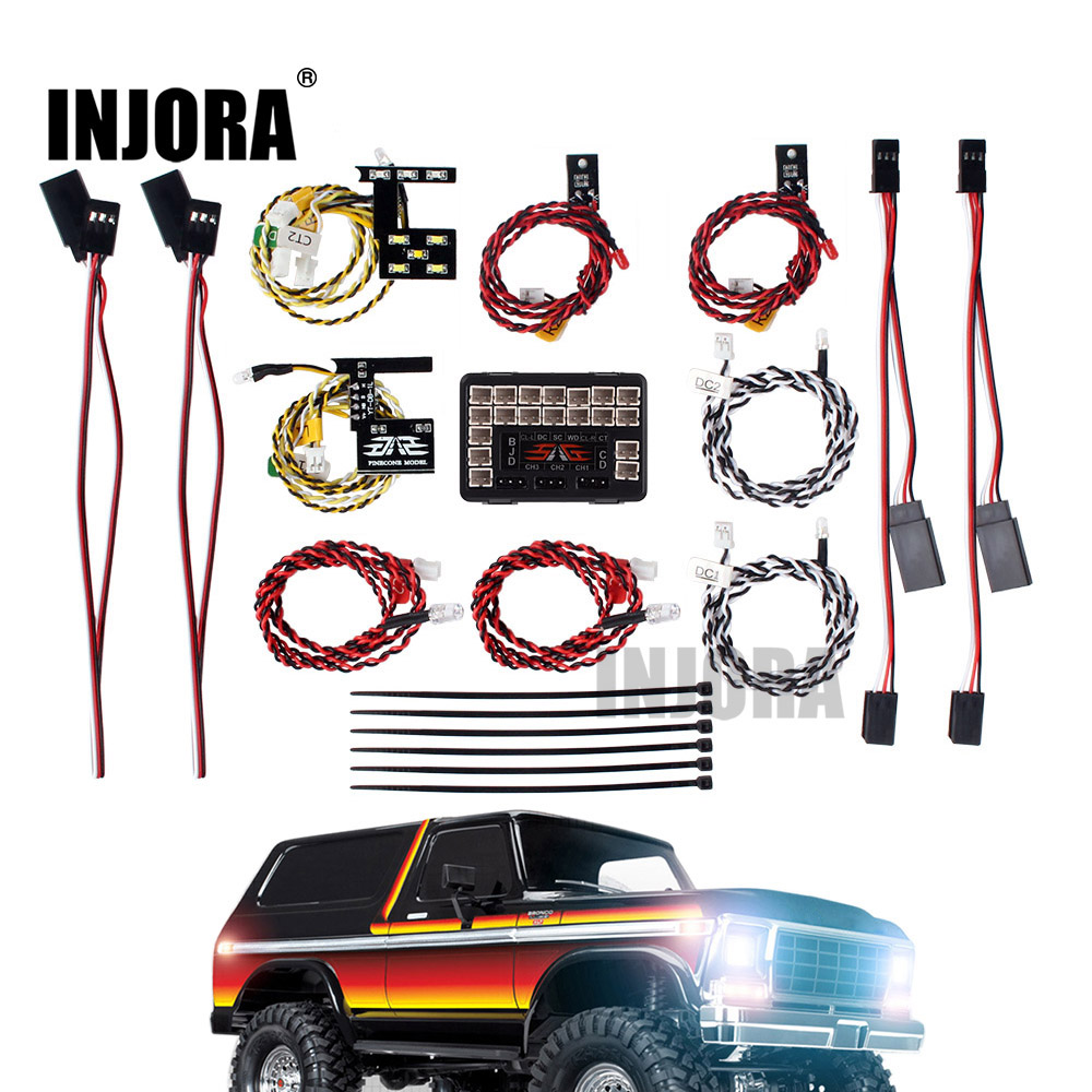INJORA LED Light System Front & Rear Lamp Group For 1/10 RC Car Traxxas TRX4 Bronco 82046-4