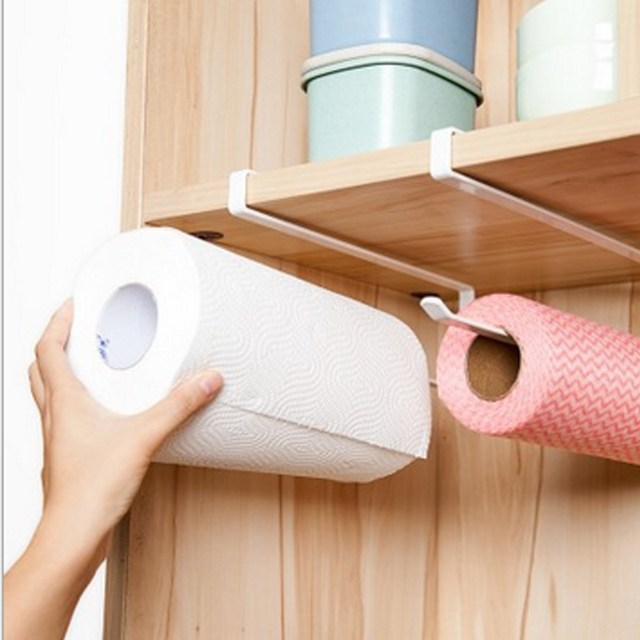 Metal Hanging Kitchen Cabinet Door Tissue Paper Roll Holder Rack Over Door  Kitchen Towels Preservative Film
