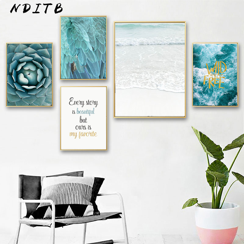 Scandinavian Sea Flower Feather Canvas Wall Art Poster Nordic Style Landscape Print Painting Nature Decoration Pictures