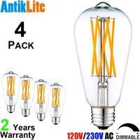 AntikLite ST64 E26 Medium Based 60W 60 W Equivalent Incandescent Filament Style 8W 8 Watt E27