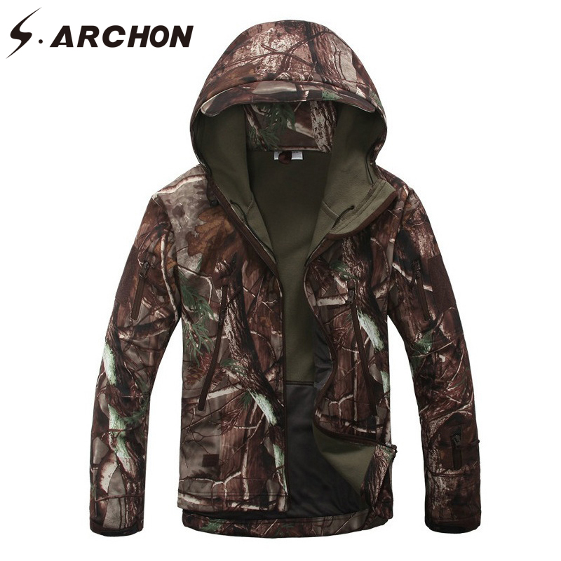 S.ARCHON Soft Shell Tactical Camouflage Jackets Men Shark Skin Army Outerwear Coat Waterproof Windbreaker Military Hooded Jacket