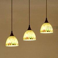 Jane European Mediterranean restaurant shell chandelier personalized pendant lamp dining room table three lights Creative