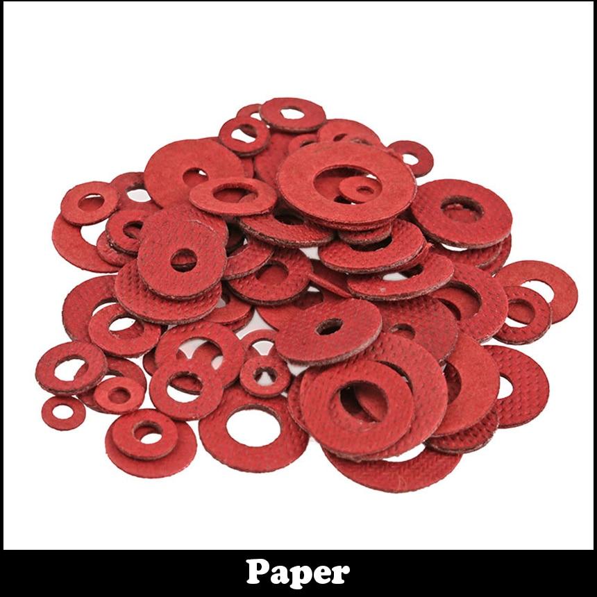 M4 M4*10*0.5 M4x10x0.5 M4*10*0.8 M4x10x0.8 M4*10*1 M4x10x1 DIN7603 Insulation Gasket Shim Crush Ring Seal Red Steel Paper Washer цены