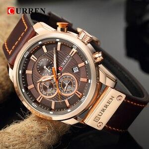 Image 4 - CURREN Luxury Brand Men Military Sport Watches Mens Quartz Clock Leather Strap Waterproof Date Wristwatch Reloj Hombre