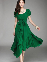 Free Shipping Plus Size 2013 Summer New Arrival Maxi Evening Long Dress Puff Sleeve Irregular Long