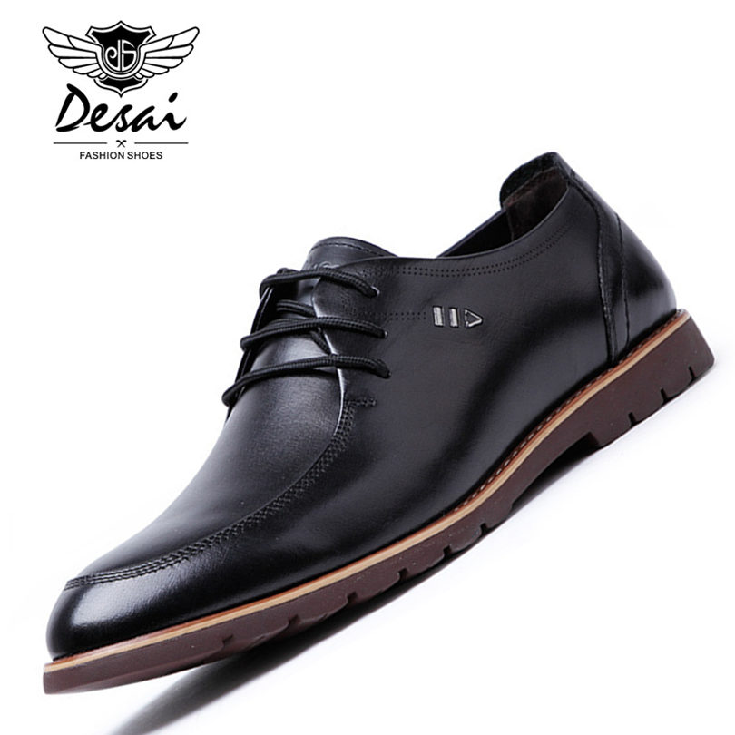 DESAI Brand Full Grain Leather Designer Mens Dress Shoes Genuine Leather Black Formal Oxford Shoes For Men Size 38-43 top quality crocodile grain black oxfords mens dress shoes genuine leather business shoes mens formal wedding shoes