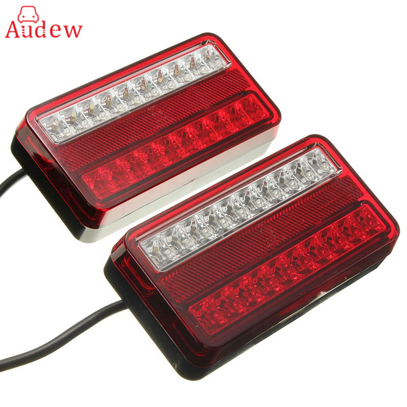 1 Pair 20 LED 12V Tail Light Car Truck Trailer Stop Rear Reverse Auto Turn Indicator Lamp Back Up Led Lights Turn Signal Lamp 1 pair 12v 24v led stop rear turn signal lorry stop rear tail indicator reverse lamps lights trailer truck