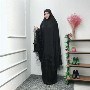 Image 5 - 2 조각 여자기도 Hijab 복장 두바이 이슬람교 Khimar Jilbab 오버 헤드 Abaya 의류 라마단 치마 Kaftan 단색 세트 이슬람교