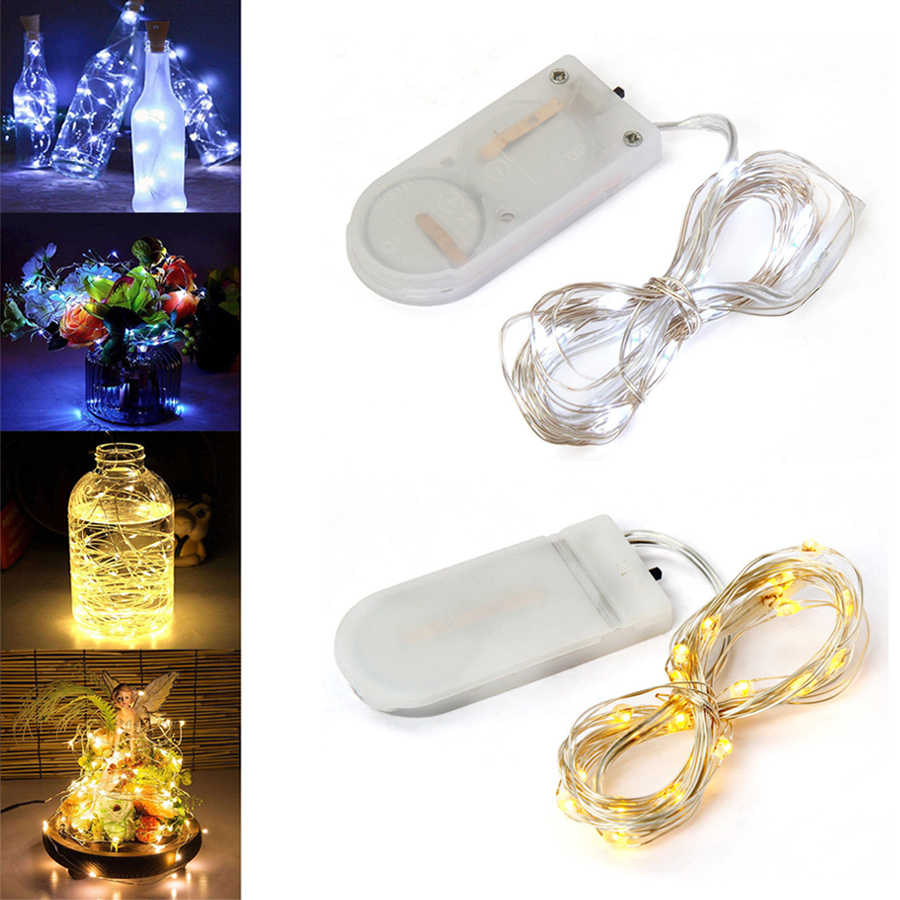 5M 50 LED Silver Wire String Lights CR2032 Operated Fairy Garland For New Year Christmas Home Wedding Decoration With Battery
