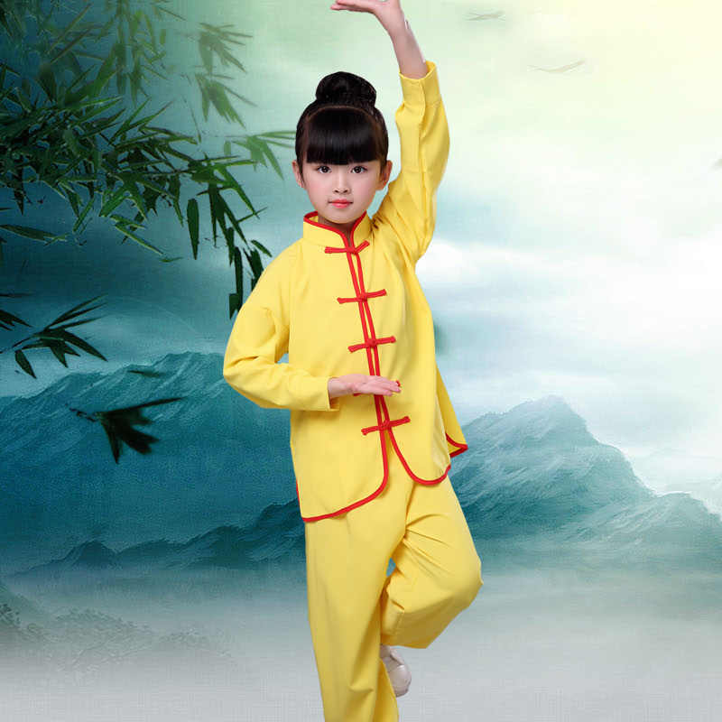 Ushine 32 Tai Chi Pakaian Lengan Panjang Kungfu Seragam Wushu Taichi Seragam Kostum Taichi Pakaian Gadis Anak Wanita