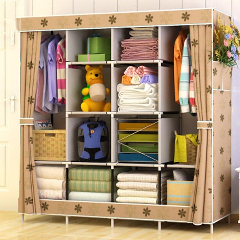 Móveis de armazenamento de DIY Não-tecido da dobra Portátil Quando o quarto roupeiro Armário De Armazenamento armário da mobília do quarto quarto