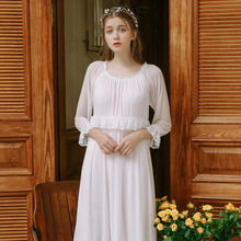 2019 Saudi Arabian Women Long Nightgowns Thin Sleepshirts Lady Nightdress O Neck Lace Sleepwear Palace Princess Indoor Clothing